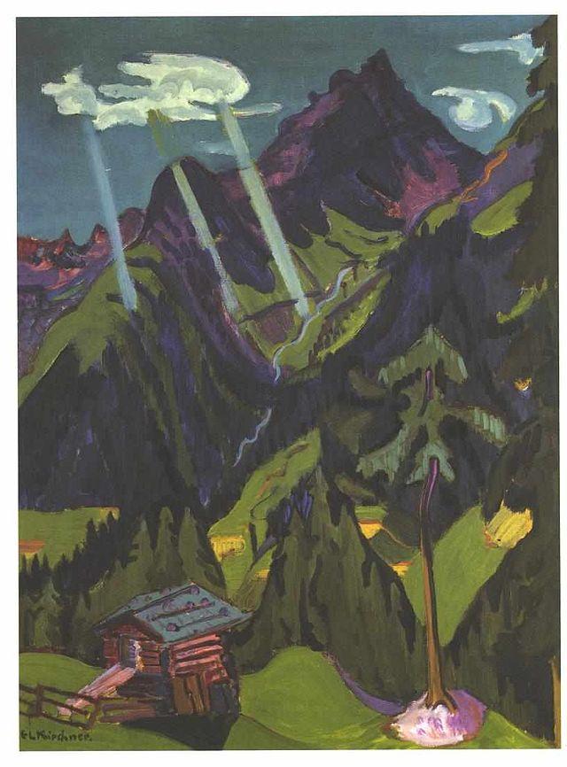 Landscape in Graubünden with Sun Rays (year unknown), Ernst Kirchner