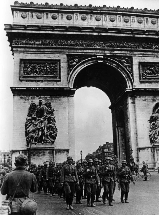Nazis March through the Arc de Triomphe after Fall of Paris
