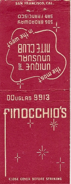 Matchbook from Finocchio's