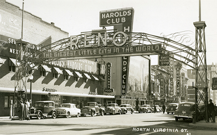 A shot of the Reno Arch from 1940.