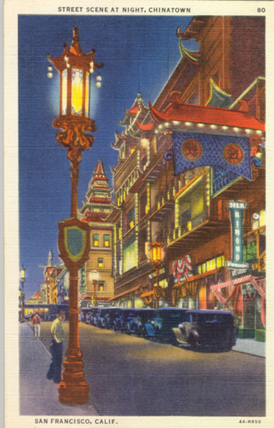 Postcard of Chinatown at night