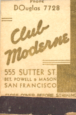 Club Moderne matchbook