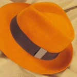 Magnifique! A gorgeous orange sherbet-colored French fedora made in Paris, from my wonderful agent!
