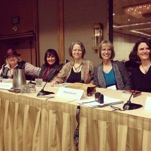 The Left Coast Crime X-Factor Panel (from right to left, Sara J. Henry, Robin Burcell, Lisa Brackmann, Marcia Clark and Kelli Stanley)
